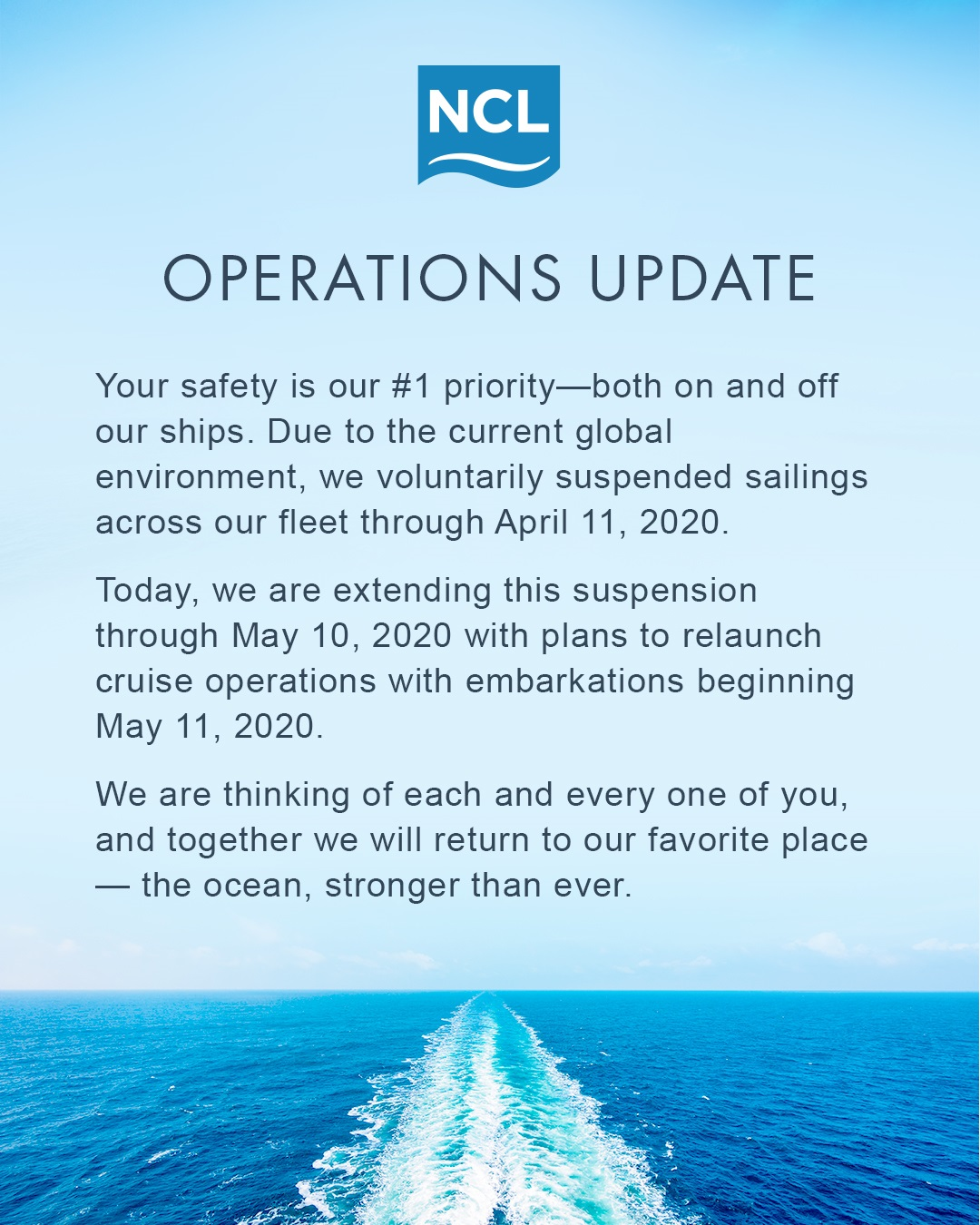 NCL has further delayed #cruising through May 10th