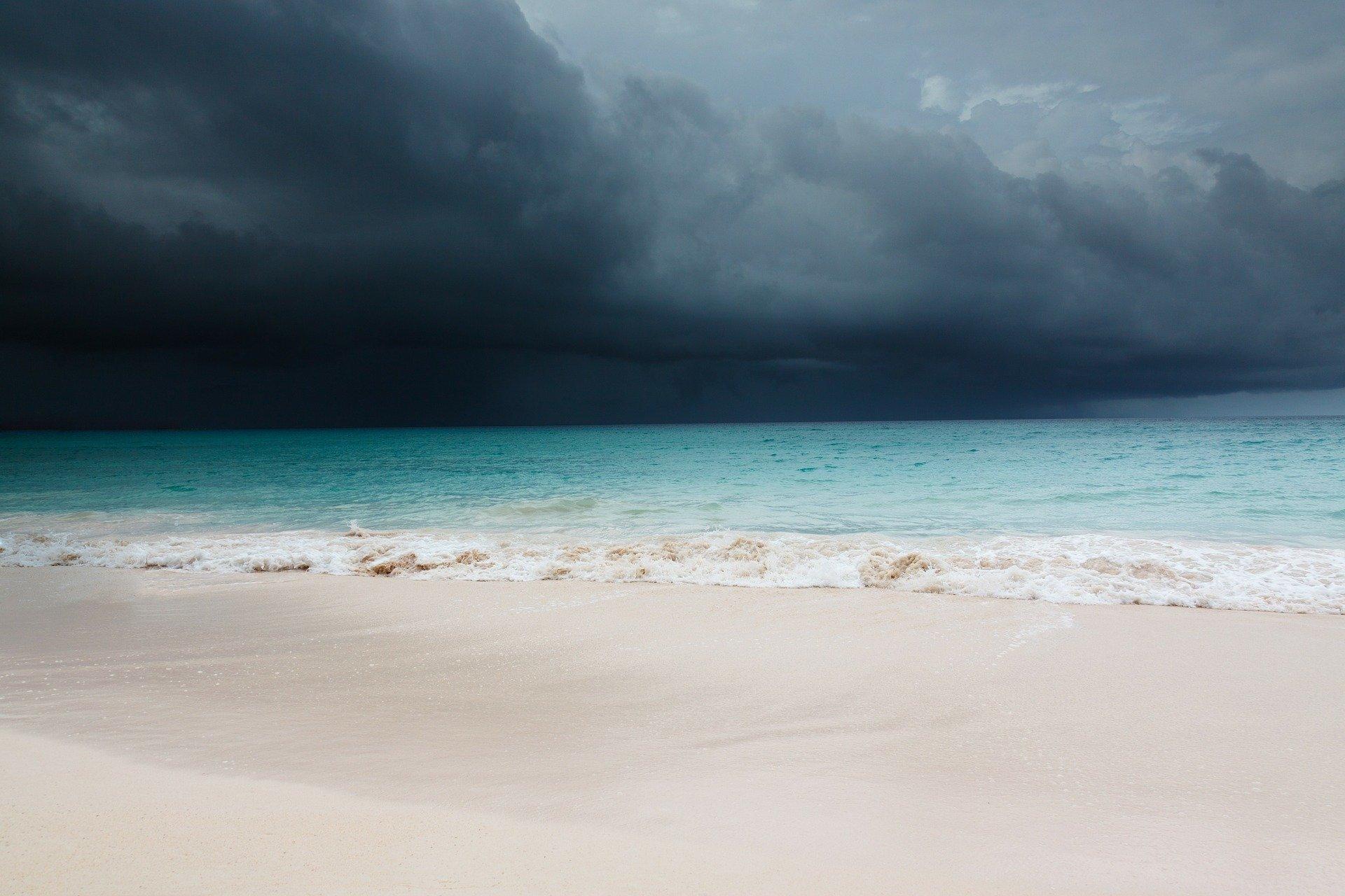 Storm on horizon at beach