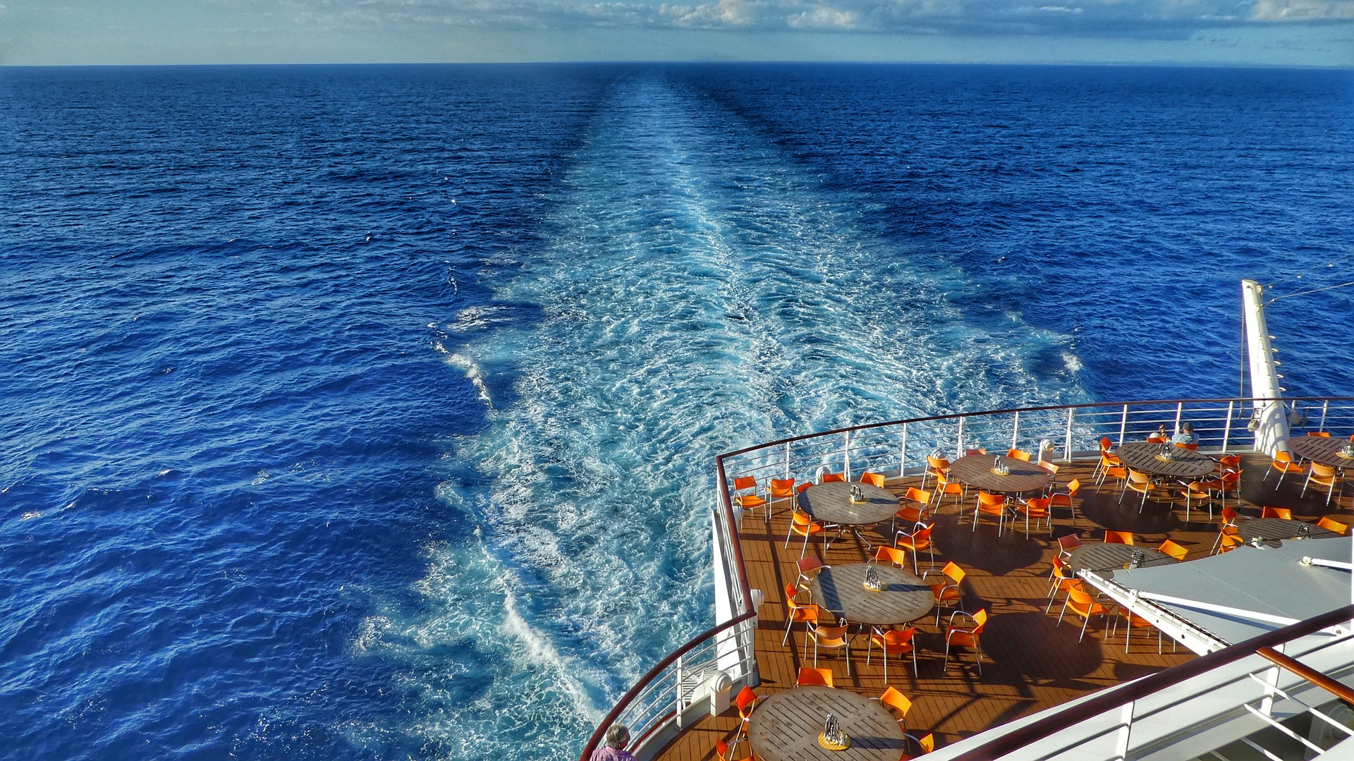 Cruise ship deck with wake