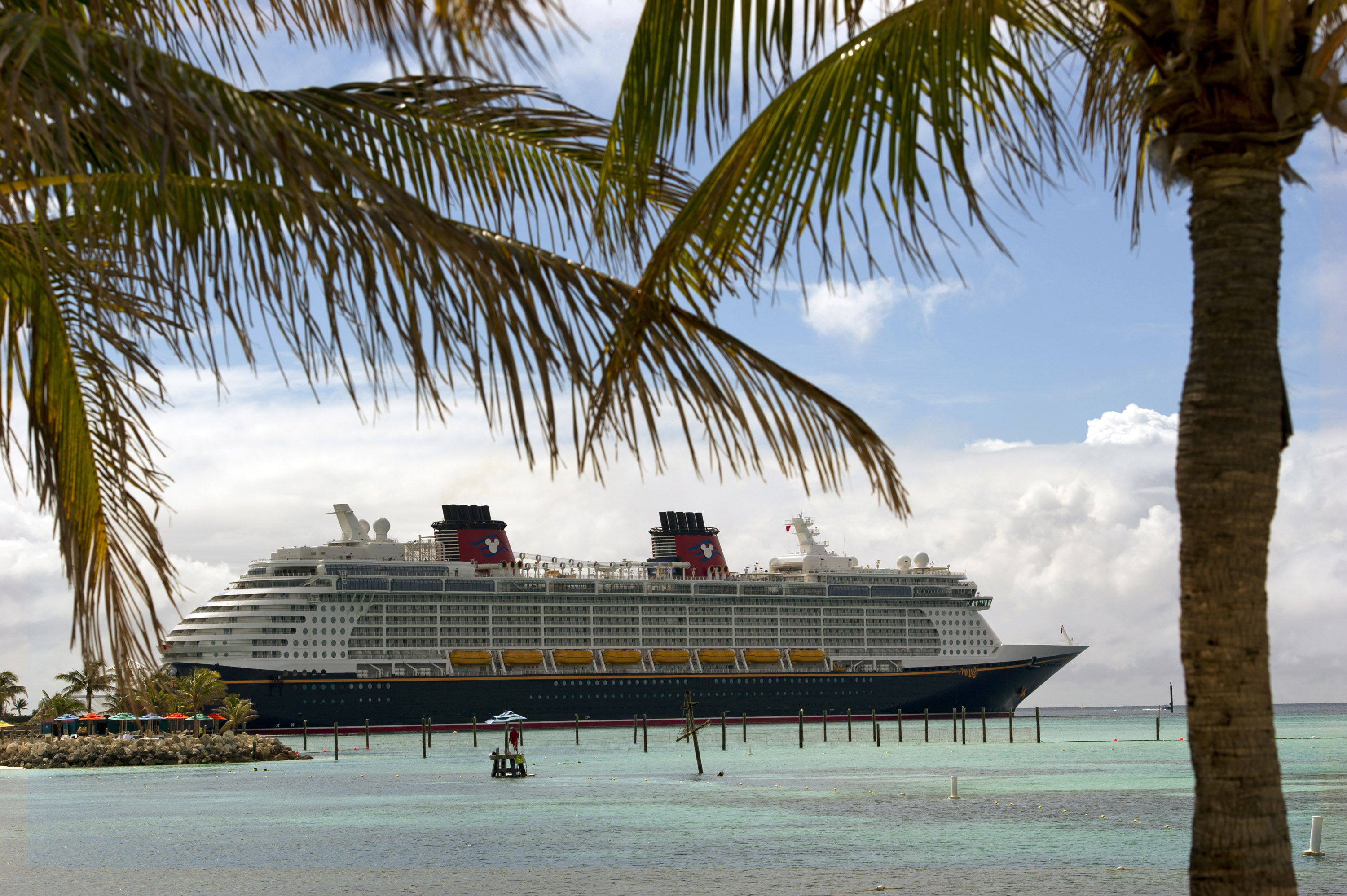 Disney cruise ship seen from Castaway Cay