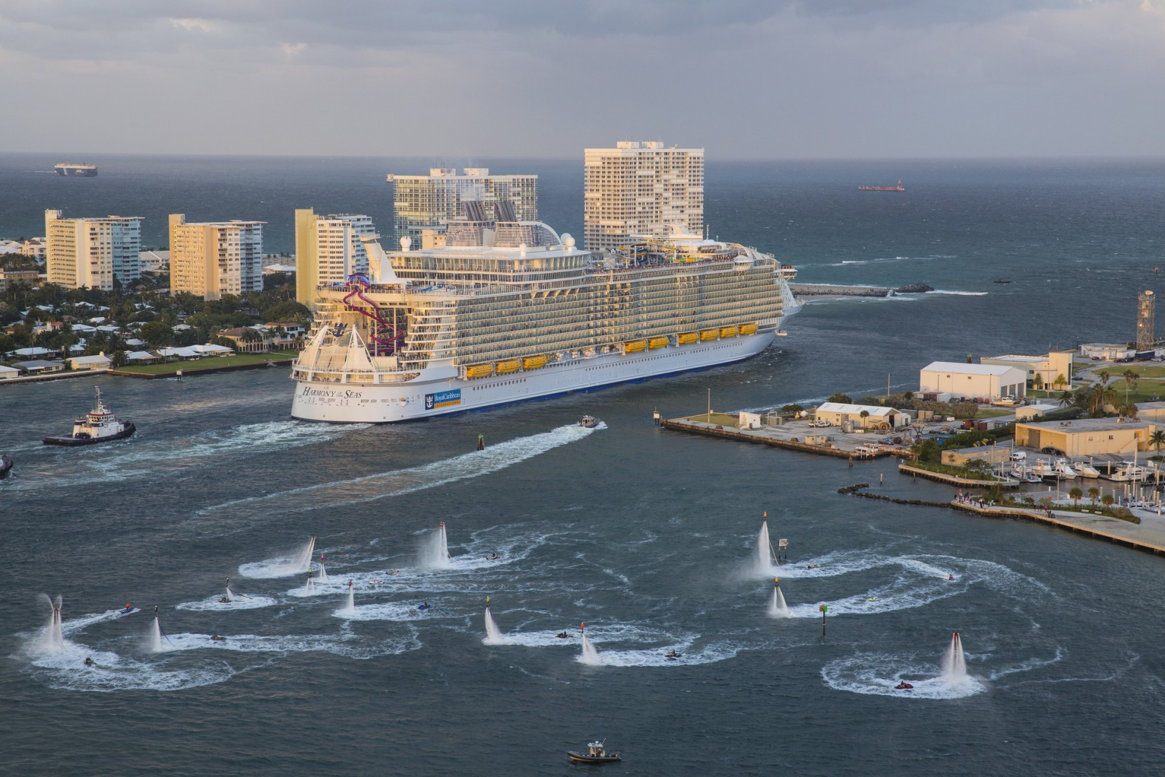 Harmony of the Seas sailing away during inaugural cruise