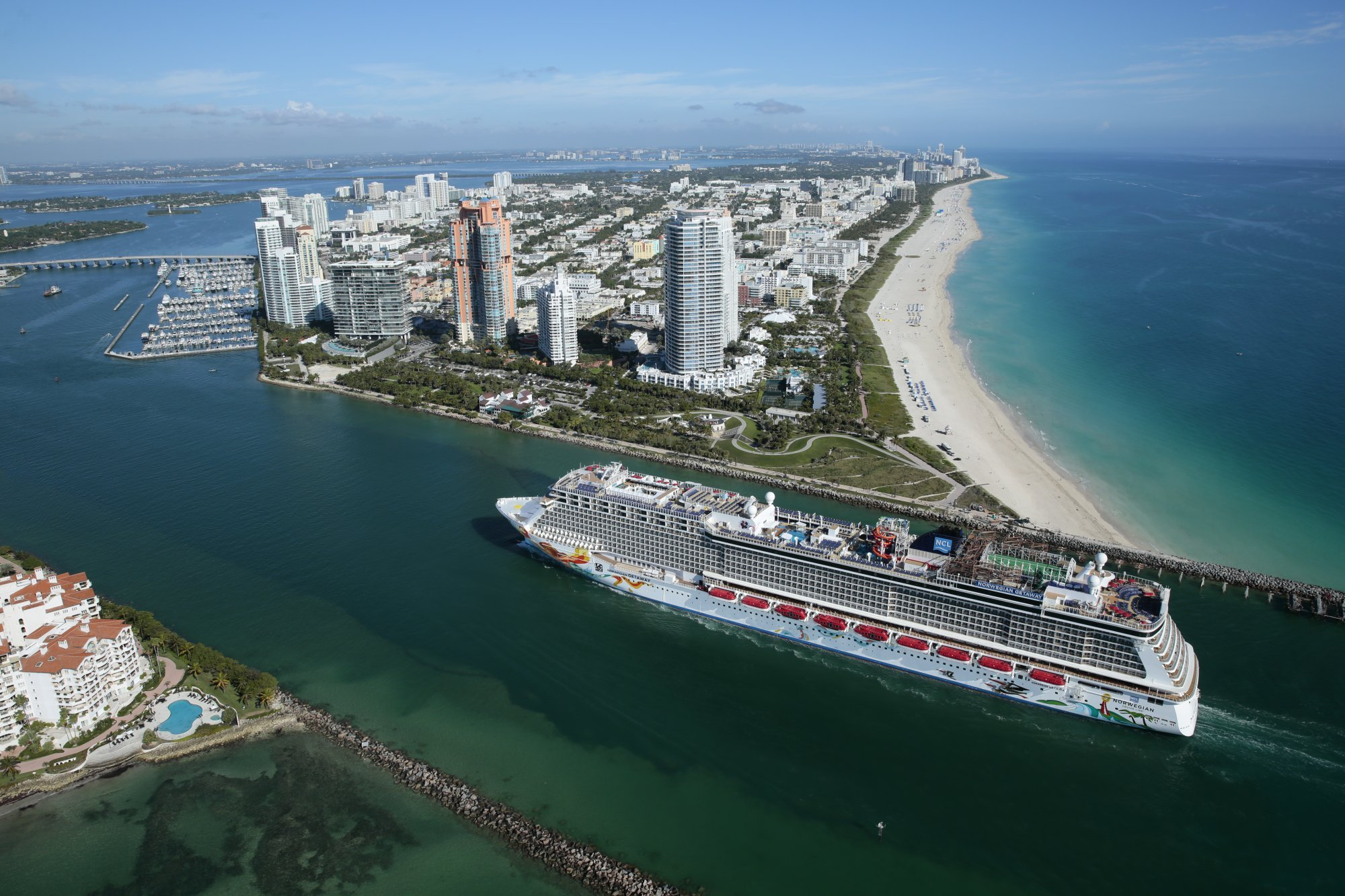 NCL ship sailing away from Miami