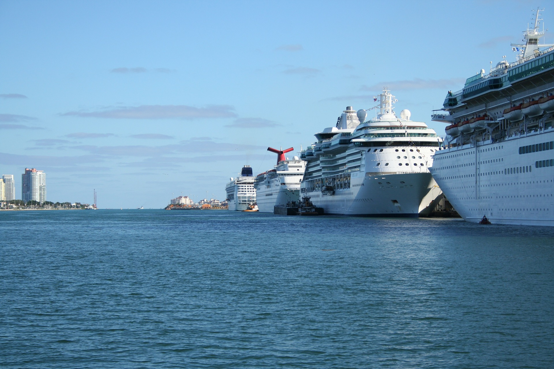 Ships lined up at PortMiami