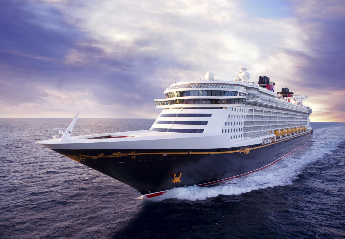 Disney Dream cruise ship front aerial view