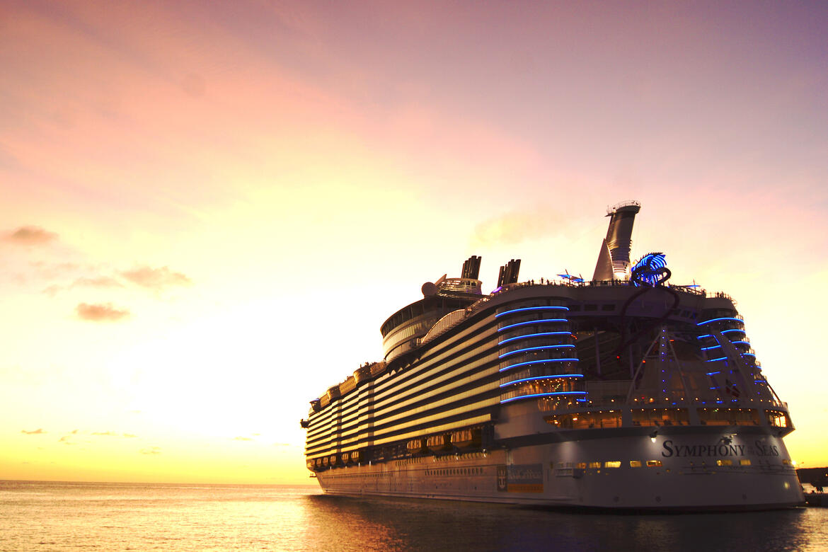 Symphony of the Seas in St. Maarten at sunset