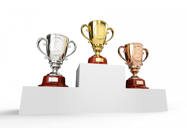 First-, second- and third-place award cups (source: qimono, Pixabay)