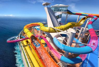 world's longest water slide at sea, called The Blaster
