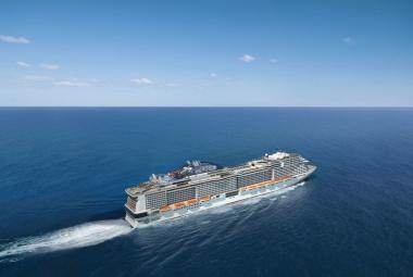 MSC Bellissima aerial at sea