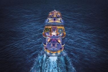 Symphony of the Seas aerial night