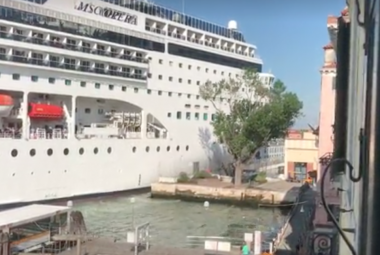 Huge cruise ship plows into dock in Venice