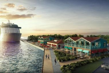 After a brief snag, work forges ahead on Antigua's new cruise pier