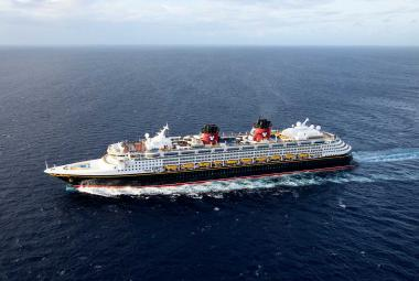Disney fantasy cruise ship aerial photo