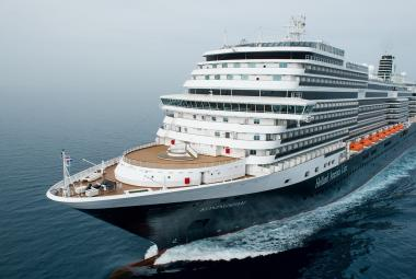 Holland America cruise ship at sea aerial