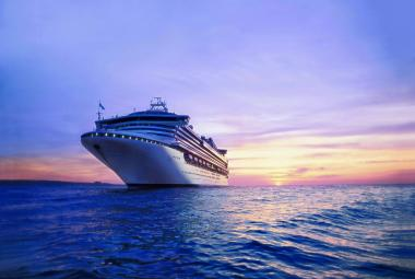 Princess Cruise ship Sapphire at sunset at sea