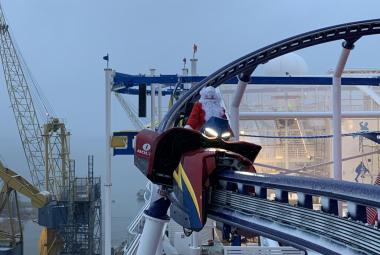 Santa takes ride on first roller coaster on a cruise ship